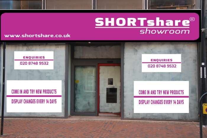 Shortshare showroom shop front being prepared